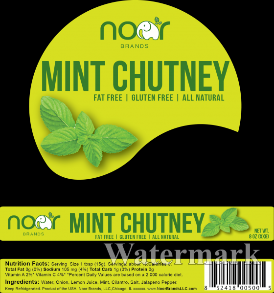 Noor Brands Mint Chutney Package Design