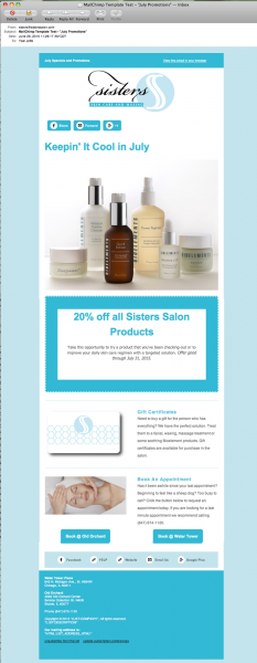 Sisters Salon Promotional E-Newsletter